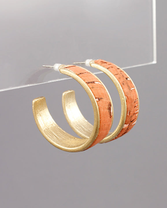 Small Cork Open Hoop Earrings