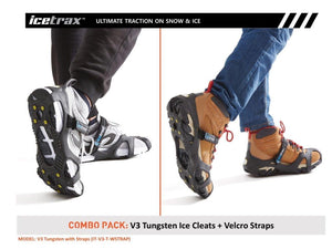 ICETRAX V3 Tungsten with Velcro Straps Combo Pack