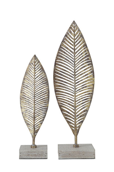 [SET OF 2] Metal Leaf w/ Wood Base, Gold Finish