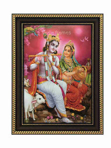 Radha Krishna on a rock in pink background