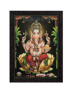 Lord Ganesha in plantain leaf background