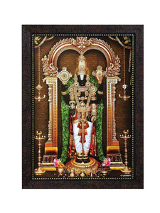Lord Balaji with thulasi garland under arch, Garudan and Hanuman on top