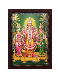 Lord Muruga, valli and Deivanai in green background glow sand finish