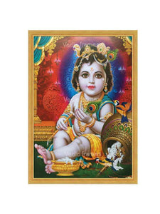 Little Krishna with overturned pot in multi color background