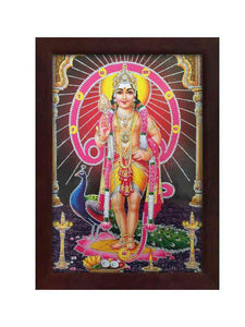 Lord Subramanya in Om background with bright halo glow sand finish