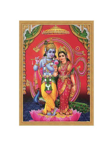 Lord Krishna with Radha under arch with Om background
