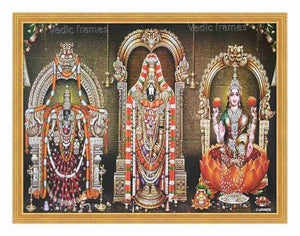Lord Venkateswara wth Padmavathi and Lakshmi on orange lotus in sanctum