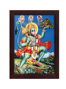 Lord Brahma, Vishnu and Shiva blessing Hanuman holding Sanjeevani mountain