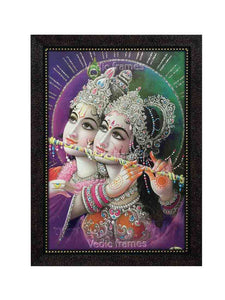 Radha Krishna playing flute together in purple background glow sand finish