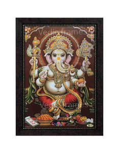 Lord Ganesha in brown background glow sand finish