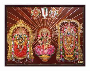 Lord Venkateshwara and Padmavathi Thayar with Lakshmi in brown background glow sand finish