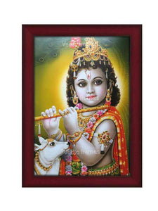 Little Krishna with cow and flute in olive green background