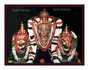 Lord Balaji (Utsavar) with round kreedam with Sridevi and Bhoodevi