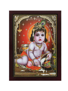 Little Krishna in arch background glow sand finish