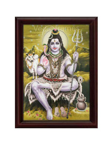 Lord Shiva with Nandi in olive green background