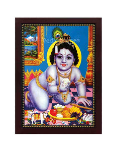 Little Krishna in crawling position in blue background