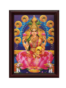 Goddess Lakshmi in front of Kalasam surrounded by pots of gold
