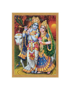 Radha Krishna with cow in setting sun background