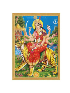 Goddess Durga on tiger in natural scenary background