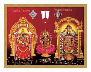 Lakshmi with Perumal and Padmavathi thayar on either side with halo in red background
