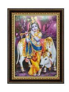 Young Krishna with cow playing flute in scenary background