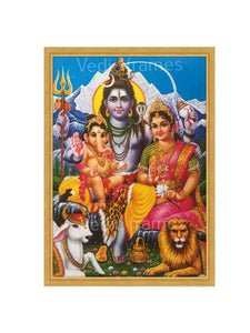 Lord Shiva and Parvathi with Ganesha with Himalayan background