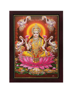 Goddess Lakshmi in brown background with elephants glow sand finish