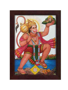 Hanuman with Rama namam all over Him lifting Sanjeevani