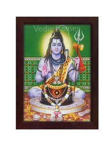 Lord Shiva behind Lingam in a green background