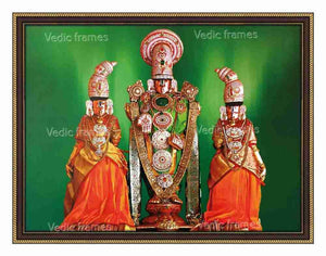 Lord Venkateswara utsavar with Sridevi and Bhoodevi in green background