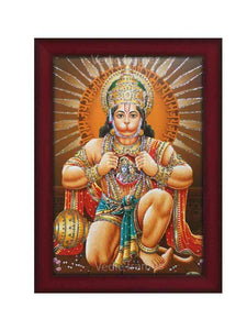 Hanuman in kneeling posture in brown background glow sand finish