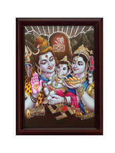Lord Shiva and parvathi with little Ganesha in lingam background glow sand finish