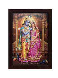 Lord Krishna with Radha under arch with pillars