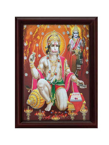 Hanuman in kneeling posture with Lord Rama behind glow sand finish