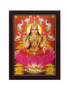 Goddess Lakshmi with pots of gold around Her in red background