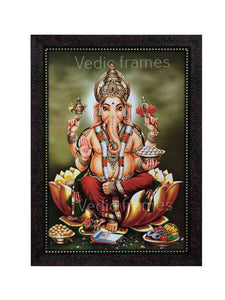 Lord Ganesha on golden lotus in olive green background
