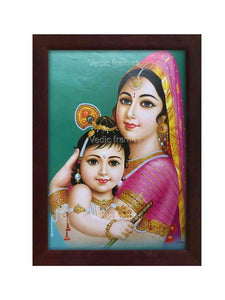Yashodha holding Little Krishna in bluish green backgorund