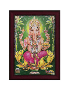 Lord Ganesha in green backgroung glow sand finish