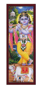 Krishna playing flute in palace background vertical