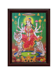 Goddess Durga on tiger with hanging deepam and bells