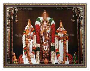Lord Venkateswara utsavar with Sridevi and Bhoodevi in white vasthram in sanctum with pillars