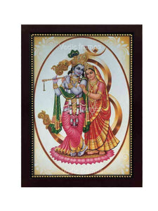 Lord Krishna and Radha on lotus in Om background