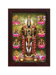 Lord Venkateshwara in rose garland surrounded by Astalakshmi in olive green background
