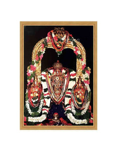 Lord Balaji (Utsavar) with Sridevi and Bhoodevi in prabhai in dark background