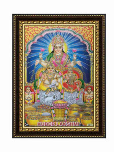 Kubera Lakshmi in blue arch and pillar background glow sand finish