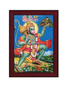 Hanuman with halo lifting Sanjeevani in scenary background