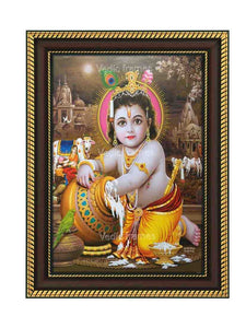 Little Krishna with pot in temple background