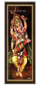 Dancing Ganesha in brown background