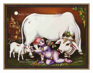 Little Krishna with cow and calf
