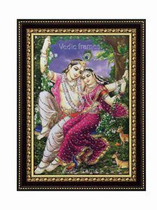 Radha Krishna on swing with deer glow sand finish